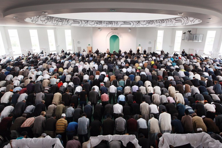 Muslims pray at the Baitul Futuh Mosque in Morden on September 10, 2010 south of London, England. Protests have erupted in Muslim parts of the world over a small American church's decision to stage an 'International Burn a Koran Day'.