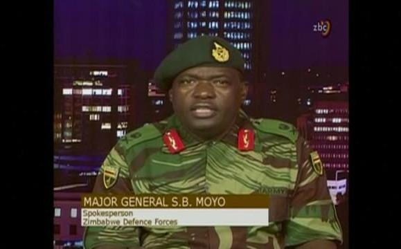 "Update: Breaking-Zimbabwe's Military: ""It's Not a Military Takeover, Commander-In-Chief, Comrade Mugabe And Family Safe, We want to Purge ""Criminals"" around him, Mugabe and Bring Them to Justice,""–Major General SB Moyo, Chief of Staff Logistics"